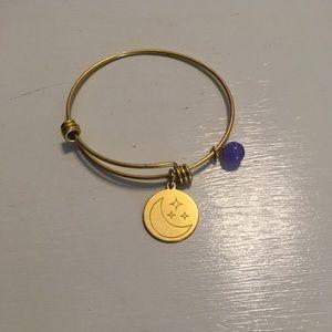 Adjustable Gold Charm Bracelet with Moon
